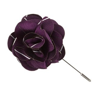 Pencil Pinstripe Plum Lapel Flower