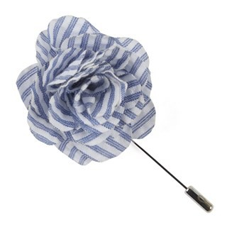 Seersucker Blue Lapel Flower Pin
