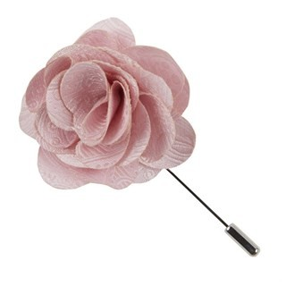Twill Paisley Blush Pink Lapel Flower