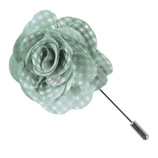 Be Married Checks Spearmint Lapel Flower Pin