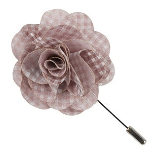 Be Married Checks Soft Pink Lapel Flower Pin