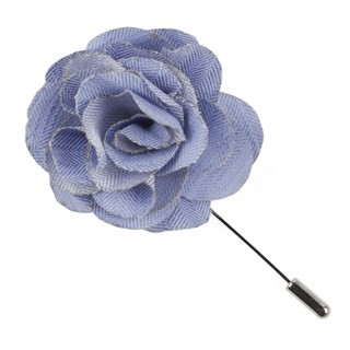 Linen Row Sky Blue Lapel Flower