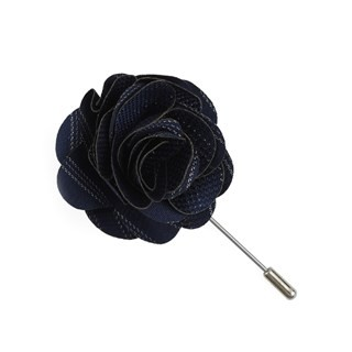 Studded Stripe Navy Lapel Flower Pin