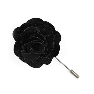 Studded Stripe Black Lapel Flower Pin