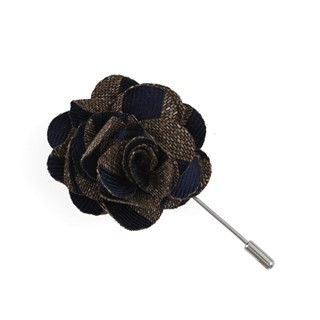 Meter Stripe Brown Lapel Flower
