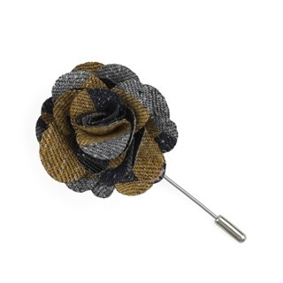 Varios Stripe Mustard Lapel Flower Pin