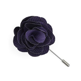 Verge Herringbone Purple Lapel Flower