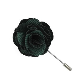 Verge Herringbone Hunter Green Lapel Flower Pin
