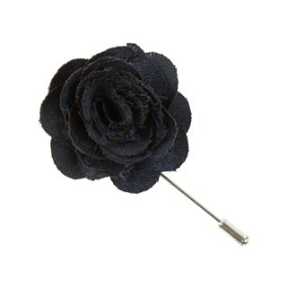 Fall Wool Houndstooth Navy Lapel Flower