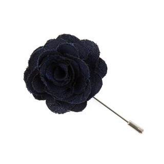 Fall Wool Solid Navy Lapel Flower