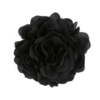 Solid Silk Xl Black Lapel Flower