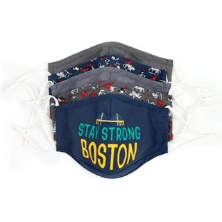 Navy 5 Pack Cotton Boston Face Mask