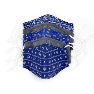 5 Pack Cotton Blue Hannukah Face Mask
