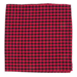 Metric Plaid Red Pocket Square