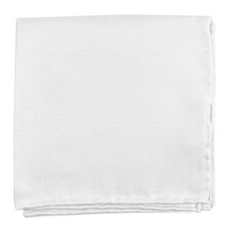 Cotton Pindot White Pocket Square
