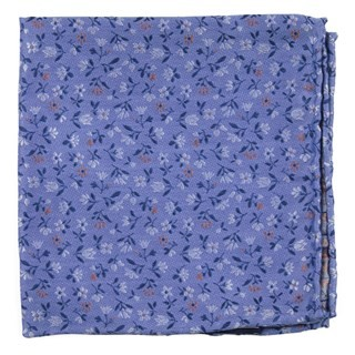 Floral Acres Light Blue Pocket Square