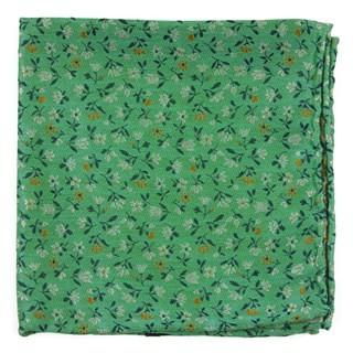 Floral Acres Mint Pocket Square