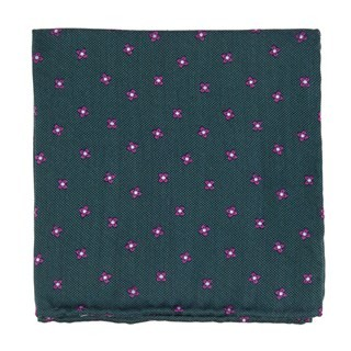 Floral Twist Hunter Green Pocket Square