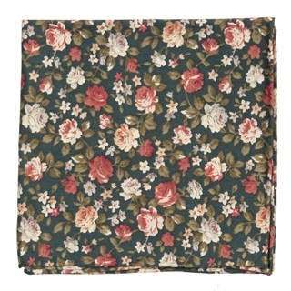 Moody Florals Green Pocket Square