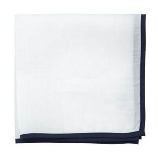 White Linen With Border Navy Pocket Square