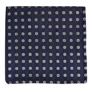 Half Moon Floral Navy Pocket Square