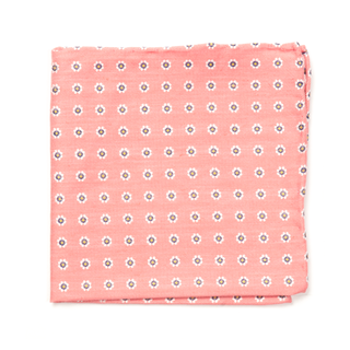 Half Moon Floral Coral Pocket Square