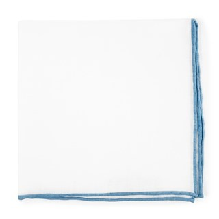 White Linen With Rolled Border Light Blue Pocket Square