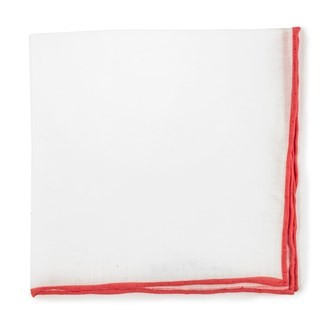 White Linen With Rolled Border Persimmon Red Pocket Square