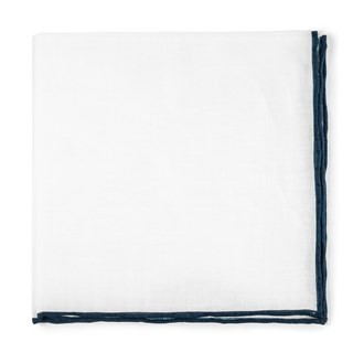 White Linen With Rolled Border Navy Pocket Square