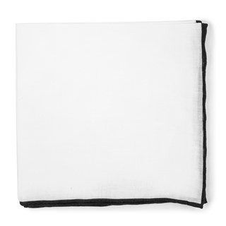 White Linen With Rolled Border Black Pocket Square