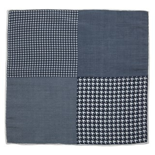 Linen Houndstooth Pane Navy Pocket Square