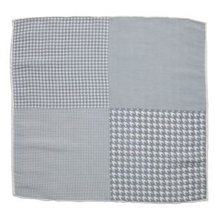 Linen Houndstooth Pane Silver Pocket Square
