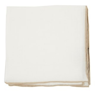 White Linen With Rolled Border Champagne Pocket Square