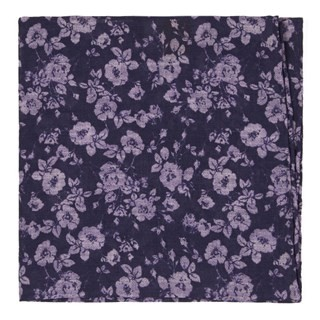 Linen Buds Eggplant Pocket Square
