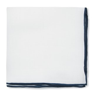 Bhldn White Linen With Rolled Border Navy Pocket Square