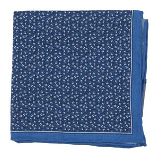 Floral Mark Blue Pocket Square