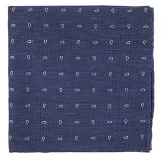 Budding Paisley Navy Pocket Square