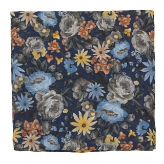 Duke Floral Navy Pocket Square