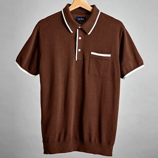 Brown Tipped Cotton Sweater Polo