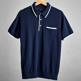 Navy Tipped Cotton Sweater Polo