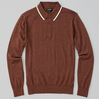 Perfect Tipped Merino Wool Polo Chocolate Brown Sweater