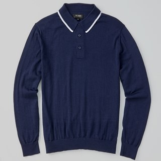 Perfect Tipped Merino Wool Polo Navy Sweater