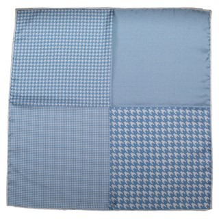 Houndstooth Panel Light Blue Pocket Square