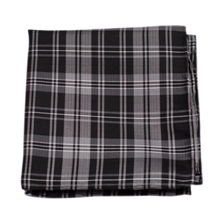 Narrative Plaid Black Pocket Square