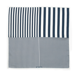 Stripe Measure Navy Pocket Square