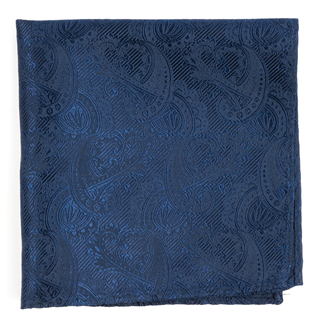 Twill Paisley Navy Pocket Square