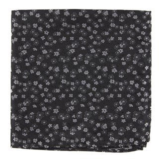 Free Fall Floral Black Pocket Square