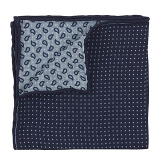 Domino Paisley Navy Pocket Square