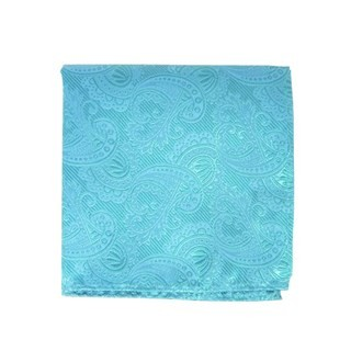 Twill Paisley Aqua Pocket Square