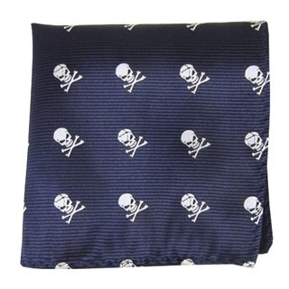 Skull And Crossbones Navy Pocket Square